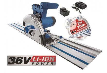 Scheppach PL55LI accu invalzaagmachine 160mm 36Volt + 2x geleider en koppelstuk