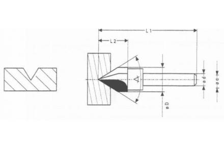 HM V-groeffrees 90°, 12,7 x 6 mm