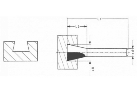 HM Zwaluwstaartfrees 14°, 18 x 8 mm