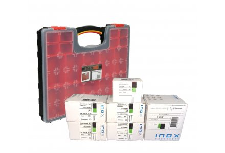 RVS spaanplaatschroeven assortiment + koffer (1200 schroeven)