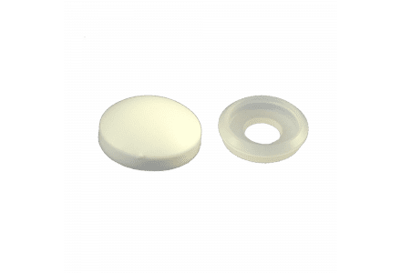 Afdekkapjes met ring (10 mm doorsnee) wit - 100 stuks