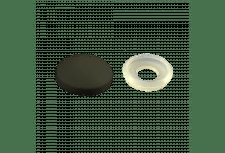 Afdekkapjes met ring (10 mm doorsnee) zwart - 100 stuks
