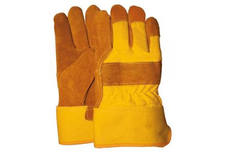 Rundsplitlederen werkhandschoenen foam gevoerd met kap