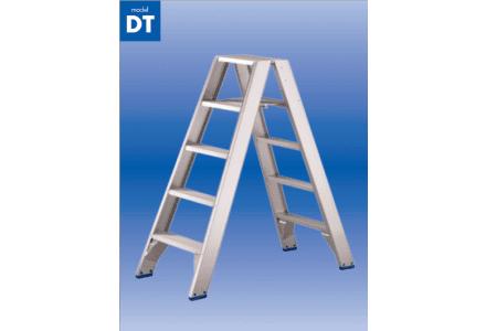 Solide dubbele trapladder 2x3 treden