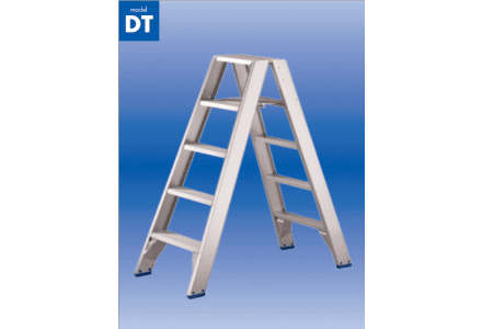 Solide dubbele trapladder 2x6 treden