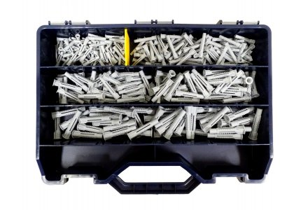 Nylon universeelpluggen assortiment in koffer 350 delig