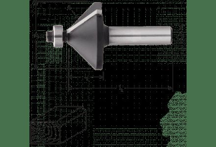 HM Fase- en verstekfrees met lager, 45°, 32 x 10 mm schacht 8