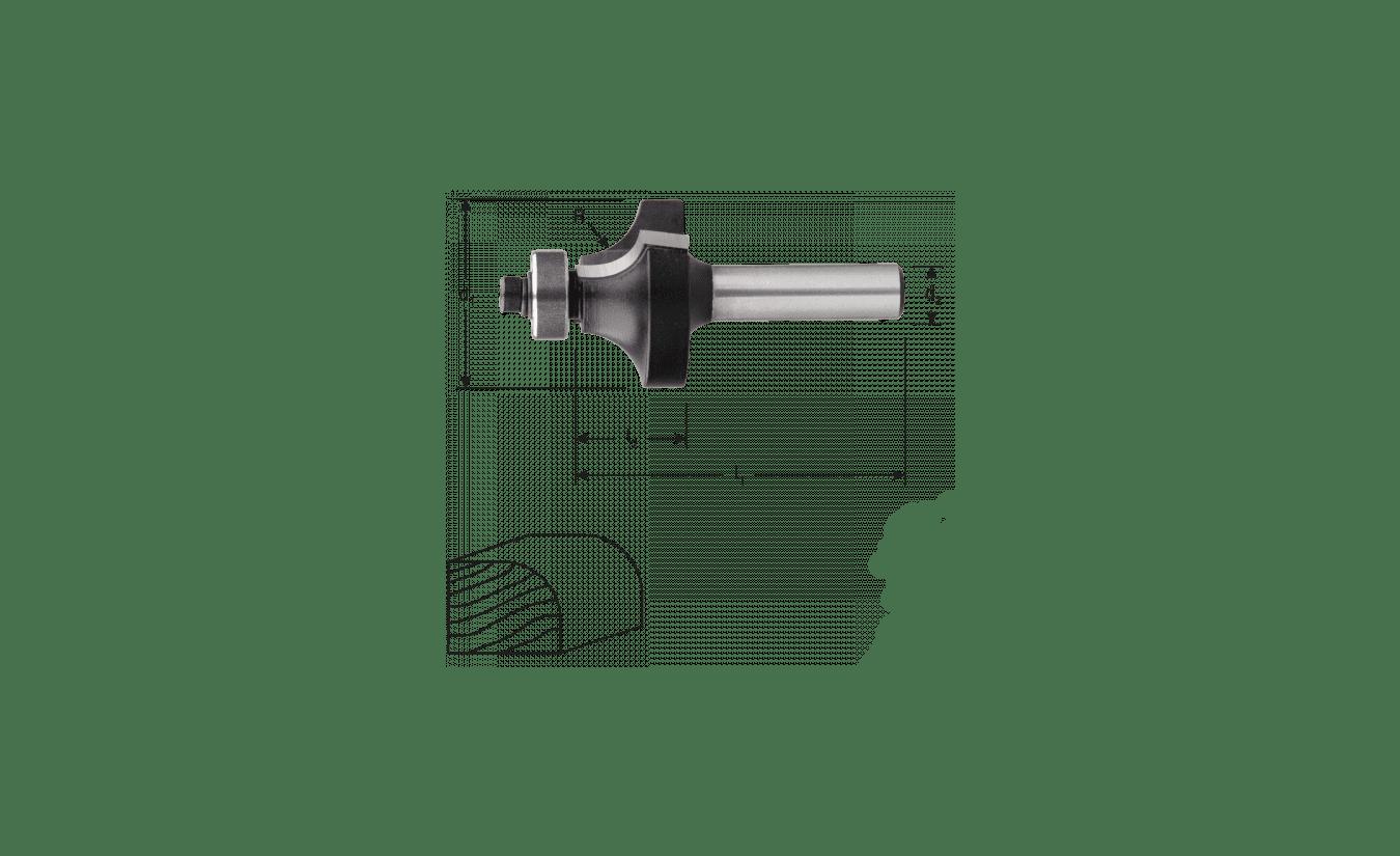 HM Afrondfrees met lager, R=8,0 / 28,7 x 15 mm schacht 8