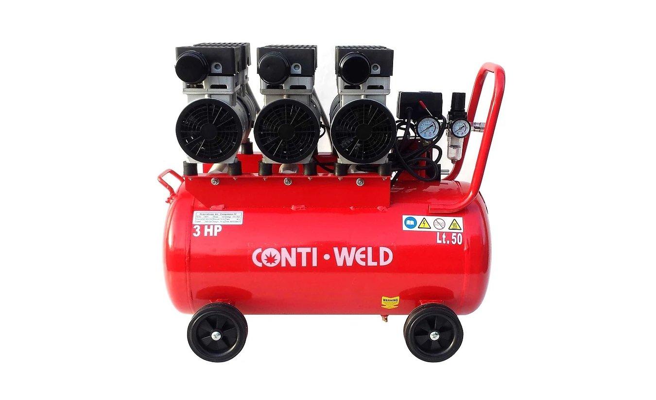Conti-Weld olievrije geluidsarme compressor LBWS 50 liter 8 bar 6 cilinder