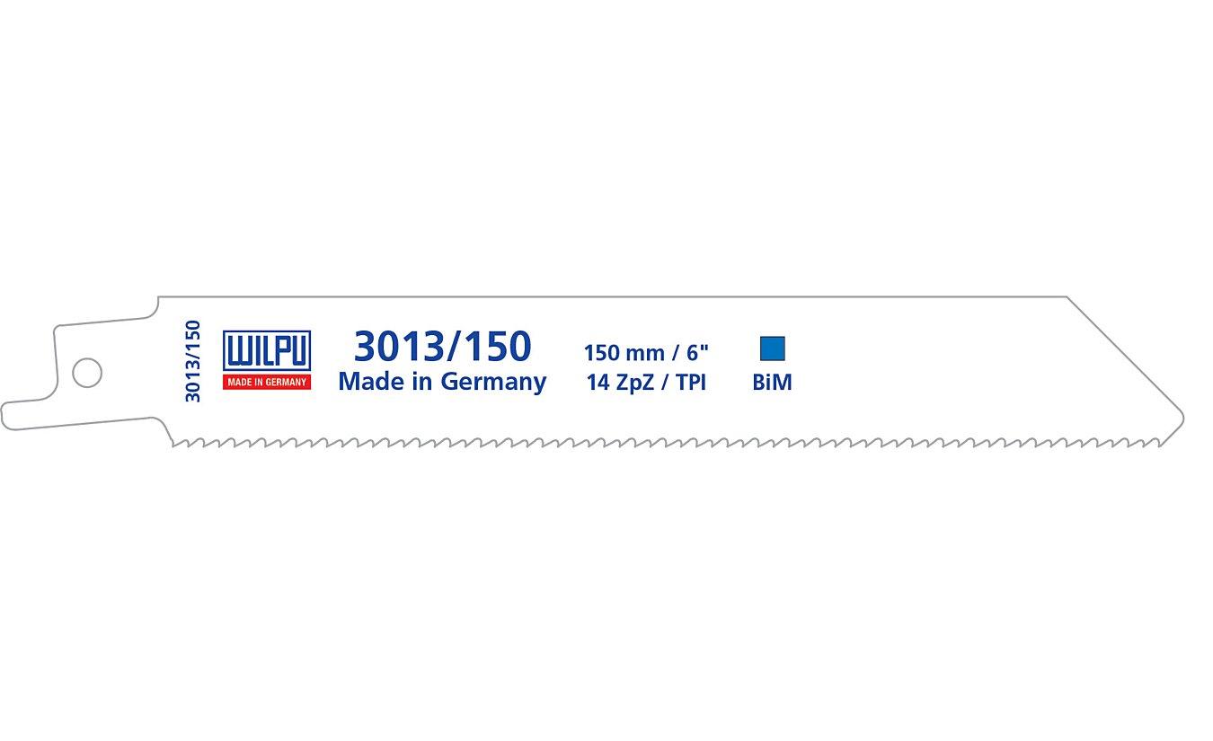 Reciprozaagbladen, 3013/150, Wilpu. Voor staal en roestvast staal van 2 tot 8mm